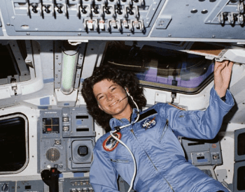 A photo of Sally Ride, a Mission Specialist on the flight deck of the STS-7 Space Shuttle mission