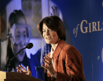 A photo of Sally Ride Speaking at First National Summit on the Advancement of Girls in Math and Science