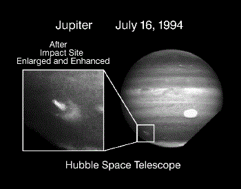 A picture of Jupiter being impacted by Fragemnt A of Shoemaker-Levy 9