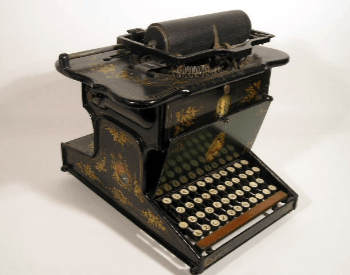 A picture of a Sholes and Glidden typewriter from 1874