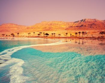 A picture of the beautiful shoreline of the Dead Sea