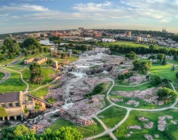 A picture of Sioux Falls, the most populated city in South Dakota