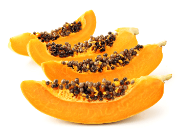 A picture of a sliced papaya