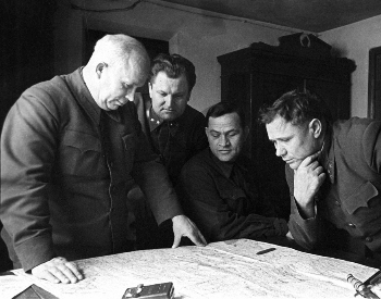 A picture of Soviet commanders studying a map of Stalingrad