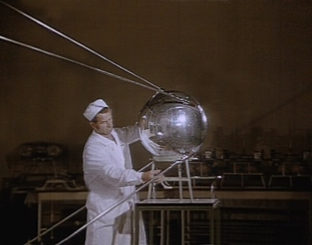 A picture of the Soviet Union Sputnik 1 artifical satellite. This first spacecraft ever put into space