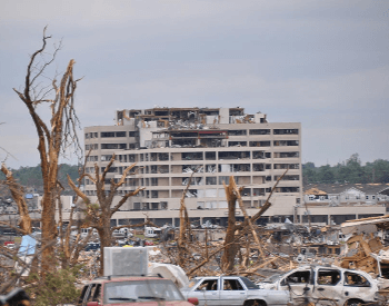 The damage to the St. John;s Medical Center by the 2011 Joplin Tornado