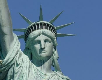 A close-up picture of the head on the Statue of Liberty