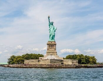 A picture of the Statue of Liberty on Liberty Island