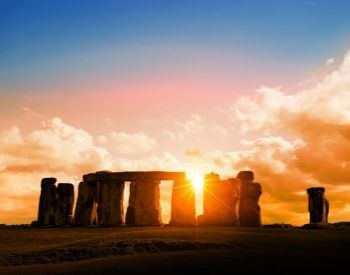 A picture of Stonehenge at sunset