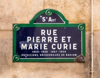A picture of a street named after Marie Curie