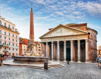 A street view picture of the Pantheon in Italy