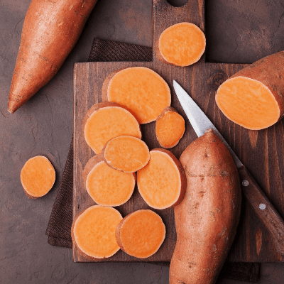 A Picture of Cut Sweet Potatoes
