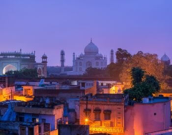 A picture of the Taj Mahal and the Arga town