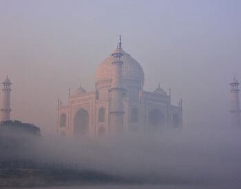 A picture of the Taj Mahal on a foggy day