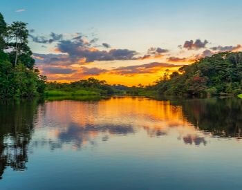 A picture of a beautiful sunset over the Amazon River