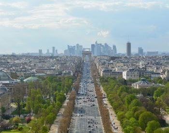 A picture of the Arc de Triomphe taken by a drone