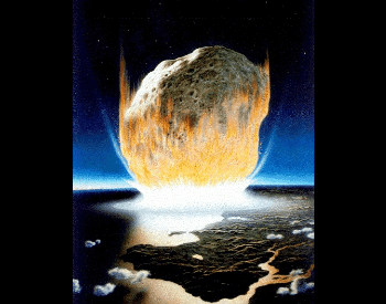 An artist's interpretation of the asteroid impact that killed the dinosaurs