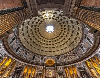 A picture of the famous hole in the ceiling of the Pantheon