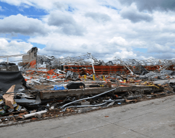 The collapsed Home Depot, which killed 6 people, after the 2011 Joplin Tornado
