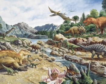 An artist's depiction of the Cretaceous Period