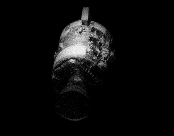 A picture of the damage from the explosion on the service module