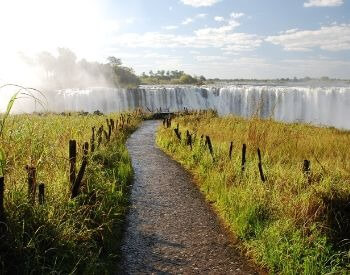 A picture of the edge of Victoria Falls waterfall