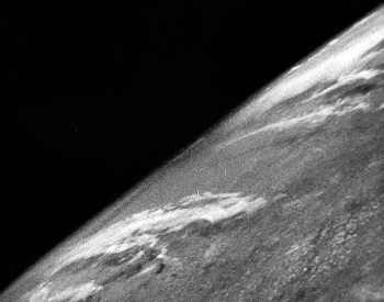 A picture of the planet Earth taken on October 24th, 1946. First photograph of Earth from space