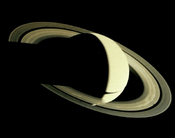 The first photo of Saturn and its rings by Voyager 1 in November 1980.
