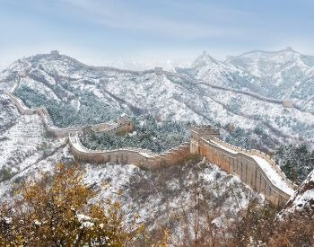 A picture of the Great Wall of China covered in snow