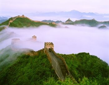 A picture of the Great Wall of China on a foggy day