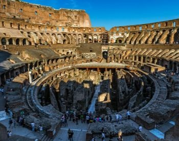 A picture of the inside of the Roman Colosseum