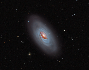 A stunning color enhanced picture of the famous M64 Black Eye Galaxy