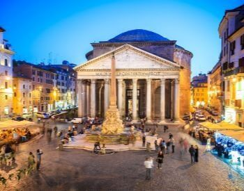 A picture of the Pantheon during a sunset