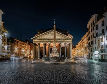 A picture of the Pantheon during the nighttime