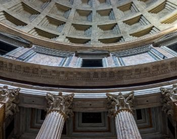 A picture of the pillars inside of the Pantheon
