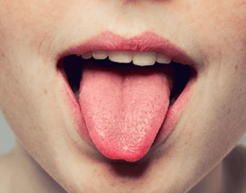 A picture showing the top of the human tongue