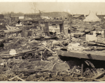 A picture of the damage in Griffin, Indiana caued by the the Tri-State Tornado