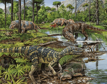An artist's depiction of the Triassic Period