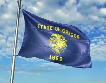 A picture of the flag of the U.S. state of Oregon