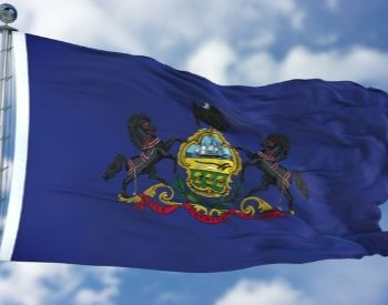 A picture of the flag of the U.S. state of Pennsylvania