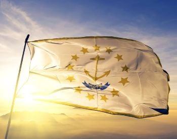 A picture of the flag of the U.S. state of Rhode Island