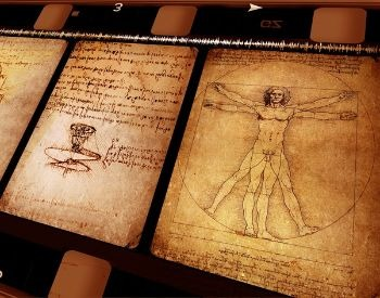 A picture of work and notes created by Leonardo Da Vinci