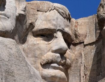 A close-up picture of Theodore Roosevelt on Mount Rushmore