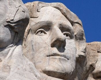 A close-up picture of Thomas Jefferson on Mount Rushmore