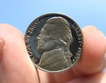 A picture of Thomas Jefferson on the nickel, a U.S. coin