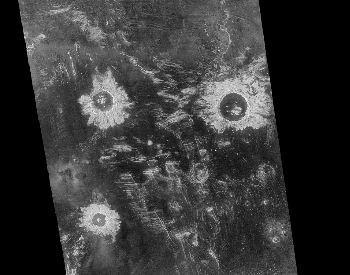 A picture of three large impact craters on the planet Venus