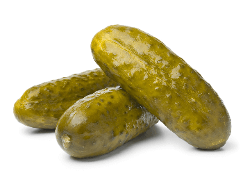 A picture of three large whole pickles