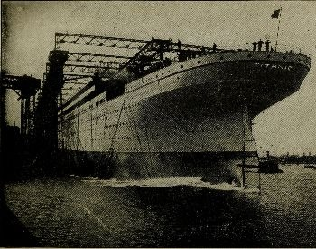 A picture of the Titanic being built on the water