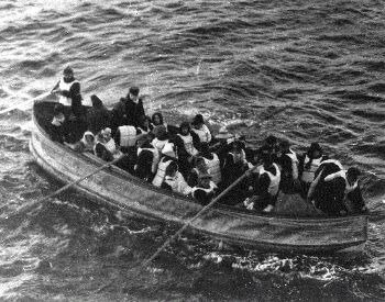 A picture of a lifeboat full of survivors from the Titanic