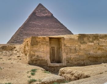 A picture of a tomb near the Giza Egyptian Pyramids